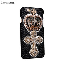 Laumans Custom Rhinestone Phone Case for Iphone 4s 5s 5C 6 6s Plus Retro Crown Pearls Skins Cover for 7 plus 8 plus Diamond case(China)