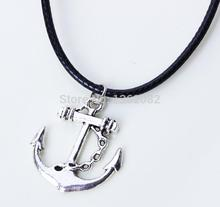 Navy style Anchor Necklaces Antique Silver Anchor Marine Pendant with leather rope chain Punk MN43