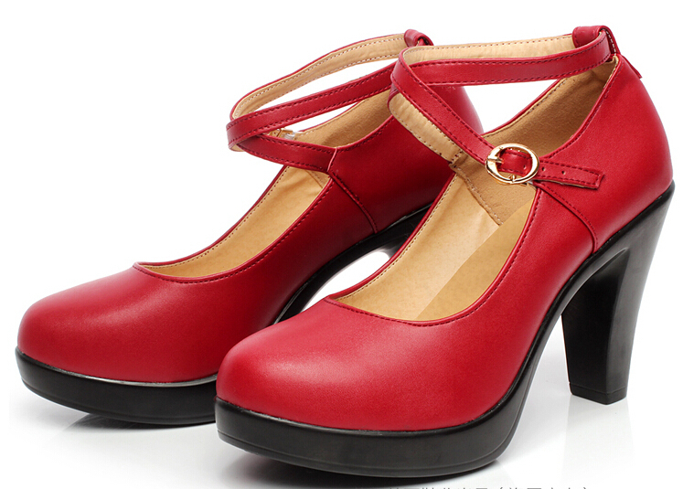 women high heels pumps female OL SOFT COMFORTABLE genuine leather black new work shoes sy-771<br>
