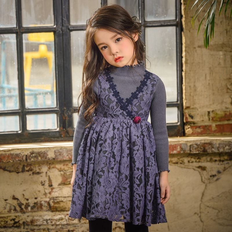 2017 New Retro toddler girl Dress clothing baby girls kids dress Lace clothes cotton Long sleeved sweater knitting dress<br>