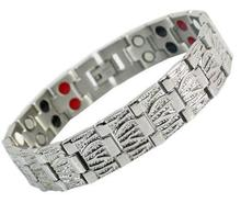 Free shipping! Silver Titanium Germanium Health Bracelet 4 in 1 Magnetic Germanium Healthy Bracelet for men(China)