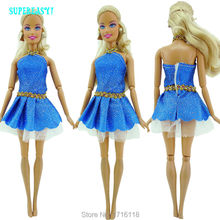 "Fashion Mini Dress Summer Wear Dinner Party Cute Gown With Belt Blue Clothes For Barbie Doll 11.5"" 12"" Puppet Play House Gift"