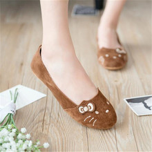 6 colors & woman summer shallow mouth shoes / 2016 new fashion cat face pattern woman shoes, suede material casual shoes woman