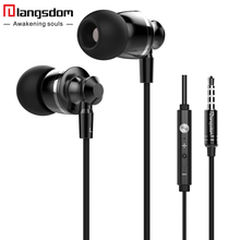 Langsdom M300 In-ear Earphone for Phone Headset Metal Phone Earphones with Microphone fone de ouvido Earbuds Airpods Earpods(China)