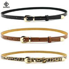 [KAITESICZI]   belt for women made of genuine leather thin belt in candy color accessory fashionable belt for women