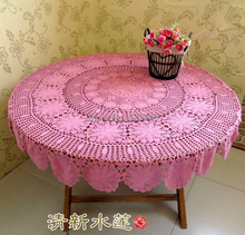 Christmas decoration Handmade Crochet flowers Pink Round Tablecloth Table cloth Cotton hollow woven Doilies Bed Cover cloth