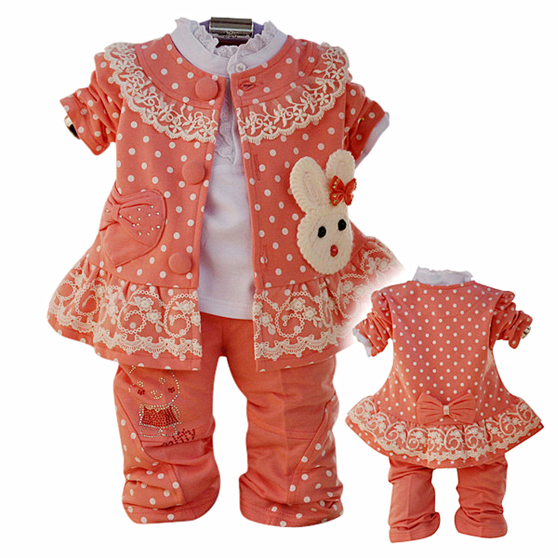 Anlencool 2017 Free shipping  children spring three-piece cotton lace rabbit baby clothing girls clothing set baby clothing<br>