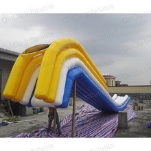 0.9mm giant adult inflatable floating water slide on sea , yacht inflatable water slide for lake boat
