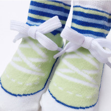glittery sweet Baby Boy Toddlers Socks Sports Modeling Autumn And Winter Cotton Socks Shoelace Knot Newborn Gift Warm Shoe Sock(China)