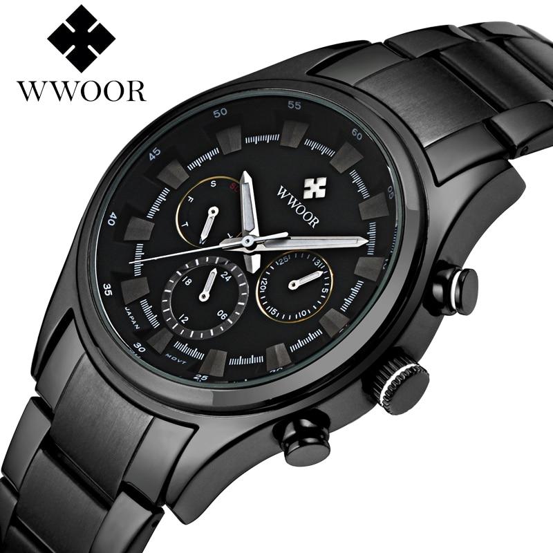 WWOOR Wrist Watch Men Top Brand Luxury Famous Male Clock Quartz Watch Wristwatch Quartz-watch Relogio Masculino WR8015H-Black-B<br>
