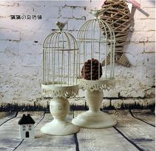 Handmade metal candle holder vintage home decorative table floor tall birdcage candle holder for wedding HO25164