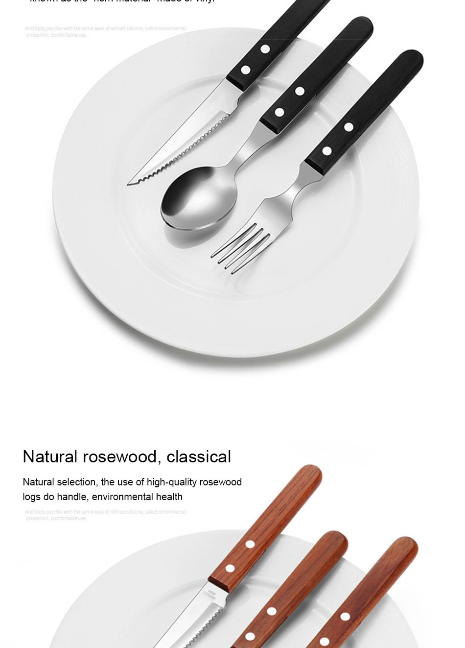 Chic Wooden Handle Dinnerware Set Stainless Steel Black Rosewood Knife Fork Tableware Cutlery European Western Food Set 3pcs (5)