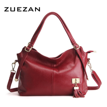 35* 27* 15cm, Large Leather Tassels Tote,Women Genuine Leather Shoulder Bag,Lady 100% Natural Cowhide Cross-body Bag A396(China)