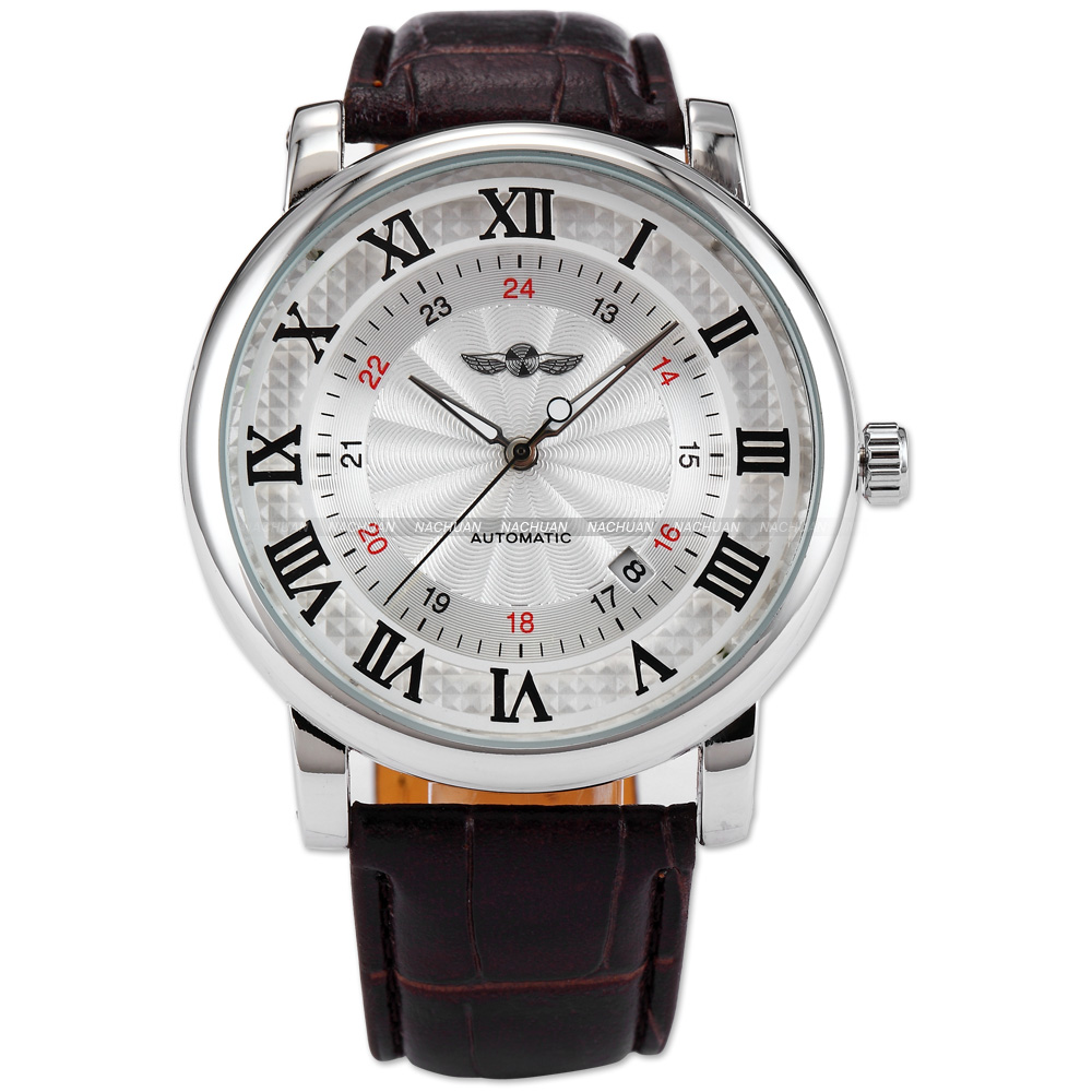 WINNER Classic White Dial Silver Case Rome Roman Number Mens Automatic Mechanical Date Brown Leather Wrist Dress Watch / PMW099<br>
