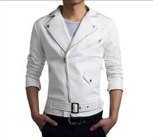 High Quality Washed Korean Slim Jackets Men Leather Jackets Coats Autumn Winter Motorcycle Leather Jackets White Black(China)