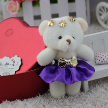 NEW Flower bouquets bear plush stuff toys doll mini promotional phone chain charm 12pcs/lot promotion gifts free shipping