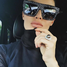 2017 Fashion New Arrival Delicate Oversized Women Sunglasses High-end Custom Made Acryl Diamond Flat Glasses Wear UV400(China)