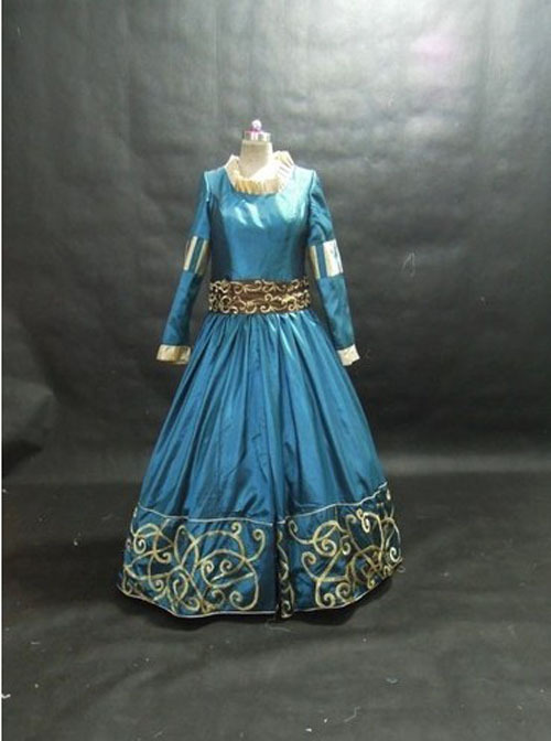 Real Adult Women Cotton Satin Full Period Costumes Shipping Womens Brave Princess Merida Costume