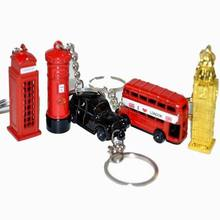 British style united kingdom red Telephone Booth,london Bus, Taxi, Big Ben,Mail Box Model 3D keyring Keychain for gift