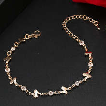 ns32  Good sales free shipping cheap new gold-color fashion romantic womens bracelets anklets Austrian crystal