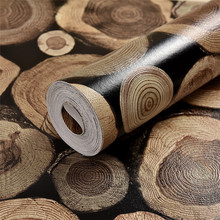 3D Wood Log Texture Embossed PVC Waterproof Self Adhesive Wallpaper Rolls Living Room Bedroom Wall Paper TV Background Mural 10m
