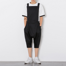 Mens jumpsuit romper summer onesie work overalls black Punk bib capris pants fashion Korean style loose casual cropped trousers(China)