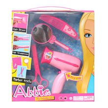ABBIE Hairdryer Toy Girls Beauty Salon Fashion Play Set Include Mirror And Styling Accessories Toy Educational Doll Girl's Gift(China)