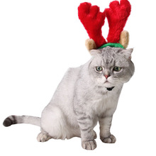 Soft Fluffy Short Plush Cute Red Antlers Deer Horn Cap Pet Cat Dog New Year Christmas Hairpin Cartoon Hair Hoop Hat Party Decor(China)