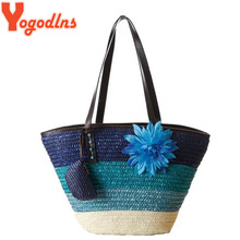 Yogodlns Knitted Straw bag Summer flower Bohemia fashion  women's handbags color stripes shoulder bags beach bag big tote bags