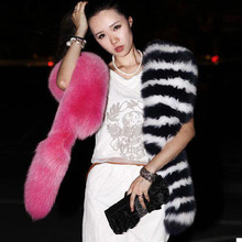 Hairy Shaggy Faux Fox Fur Stripe Shawl Long Scarf Black White Red Scarves Contrasting Colors Sexy Woman's Fashion 2015 New Super
