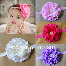 "4"" Peony Flower headbands 17 Colors U Pick 36pcs for kids hair accessories flat back with rinestone center(China)"