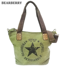 BEARBERRY BIG STAR PRINTING VINTAGE CANVAS SHOULDER BAGS Multifunctional Travel Tote Handbag Letters Big Bolsos canvas book bags(China)