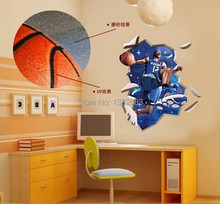 Free Shipping 3D Basketball Howard oversized scrub local UV  DIY Removable Wall Stickers Parlor Bedroom Home House Decoration