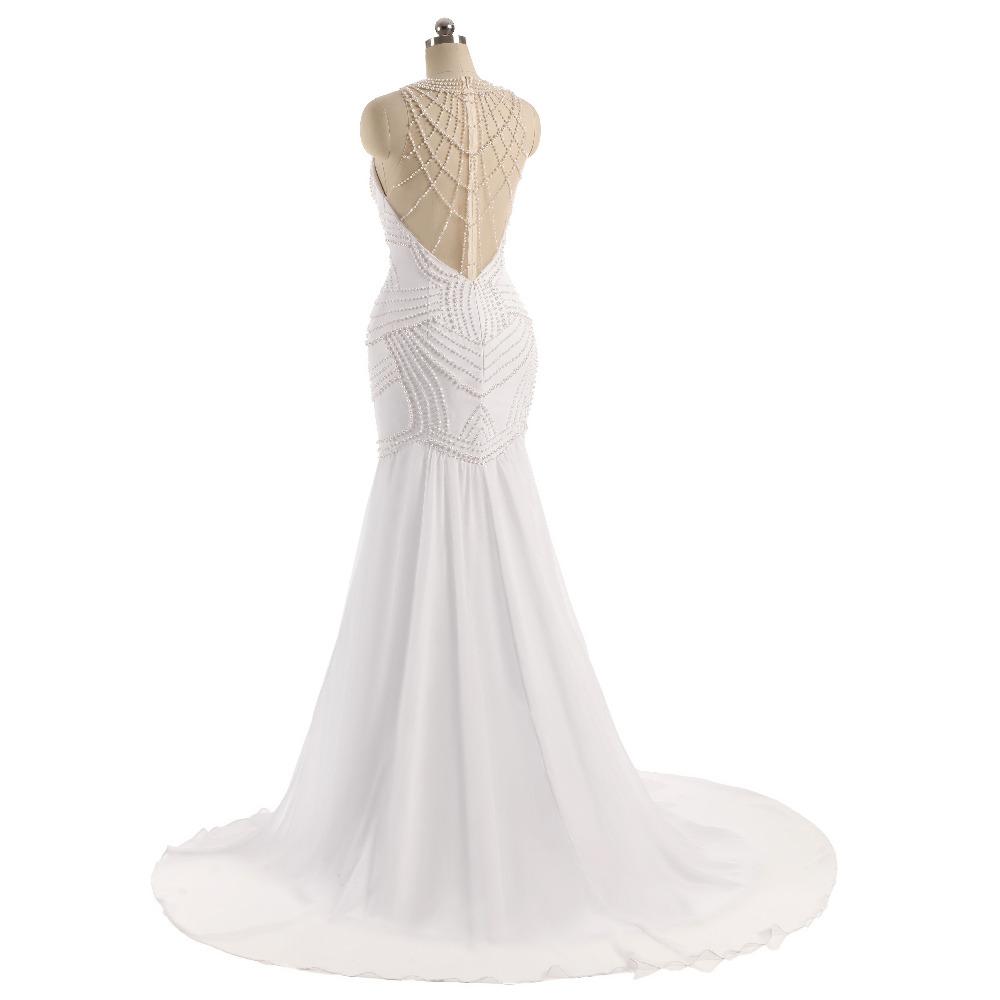 Lover Kiss Vestido De Noiva Sheer Neck Sexy Wedding Dress Pearls Mermaid Sleeveless Wedding Dresses Wedding Dress 5