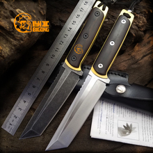 High quality BIGONG  rixed blade Knife 7CR13MOV  cold steel ebony Handle Extrema ratio Survival  Camping  Preferred Tool