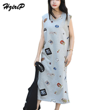 HziriP 2017 Women Summer Streetwear Ladies Cotton Ankle Length Sleeveless Dress Party Long Large Loose Character Print Dresses(China)
