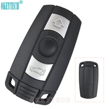 OkeyTech Car Remote Key Case Shell for BMW 1 3 5 6 7 Series E90 E91 E92 E60 Keyless Entry Fob Uncut Blade 3 Buttons Smart Card(China)