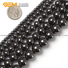 Gem-inside Natural Round Black Hematite Healing Stone Beads For Jewelry Making Bracelet Necklace 2-16mm 15inches DIY Jewellery(China)