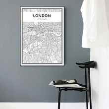 Modern LONDON Map Canvas Paintings Minimalis Black White Posters Prints Wall Art Pictures for Living Room Home Decor No Frame(China)