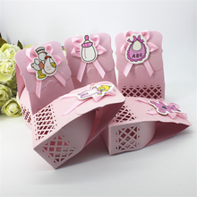 Lovely Funny Baby Shower Baptism Child Kid Girl Pink Decoration  Feed Bottle Event Party Supplies Candy Bag Favors Gift Box