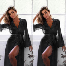 Sexy Women Lingerie Lace Nightwear Dress Black White Rose Red Blue Sleepwear Babydolls Lace Underwear Dresses Robe Clothes
