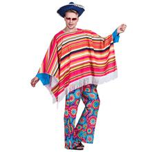 Men Mexican Poncho Wild West Cowboy Costume Carnival Party Adult Male Bandit Outfits Blanket Clothing Halloween Costumes(China)