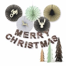 Merry Christmas Decorations For Home Lot Paper Fan , Merry Christmas Banner and Christmas tree Christmas Party Decorations(China)