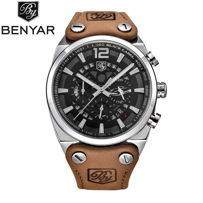 BENYAR Chronograph Sport Mens Watches Fashion Military Auto Date Leather Quartz Watch Big Clock Man Relogio Masculino BY-5112M<br>