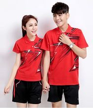 Badminton Shirt Couples Unisex Shirts Table Tennis Jersey Plus Size Breathable Quick Dry Woman Women T-shirt Free shipping(China)