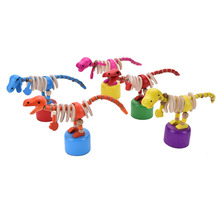 1Pc New Handcrafted Developmental Small Baby Kid Toys Wooden Dancing Standing Rocking Dinosaur for Children(China)