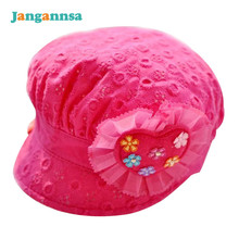 Lace Baby Girls Caps Heart Flower Girls Summer Hats Cotton Solid Sun Hats Newborn Photography Props Baby Girls Clothing(China)