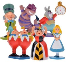 6pcs/set Hot classic Alice in Wonderland PVC Cake Toppers Figure Toy(China)