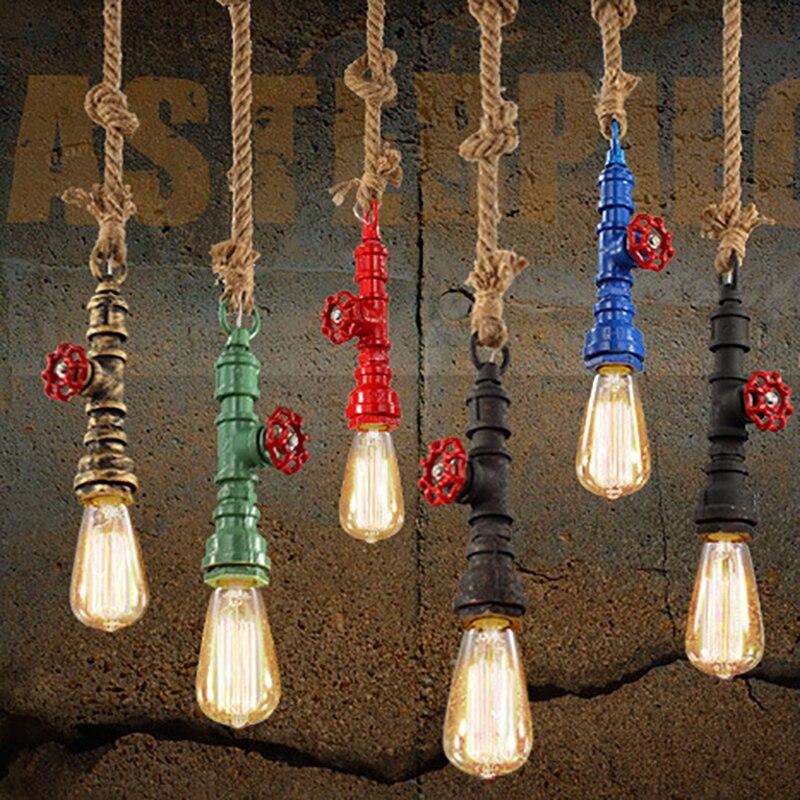 DIY loft retro industrial vintage pendant lamp lights lighting rope light steampunk water pipe colorful for bar kitchen room <br>