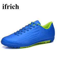 Ifrich Training Soccer Shoes For Men Children Turf Football Shoes Blue/Orange/Silver Indoor Court Sneakers Leather Mens Cleats
